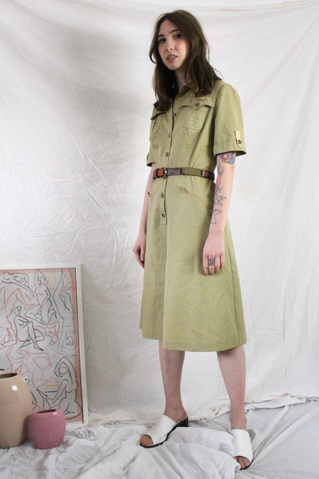 Vintage Workwear Dress in Khaki
