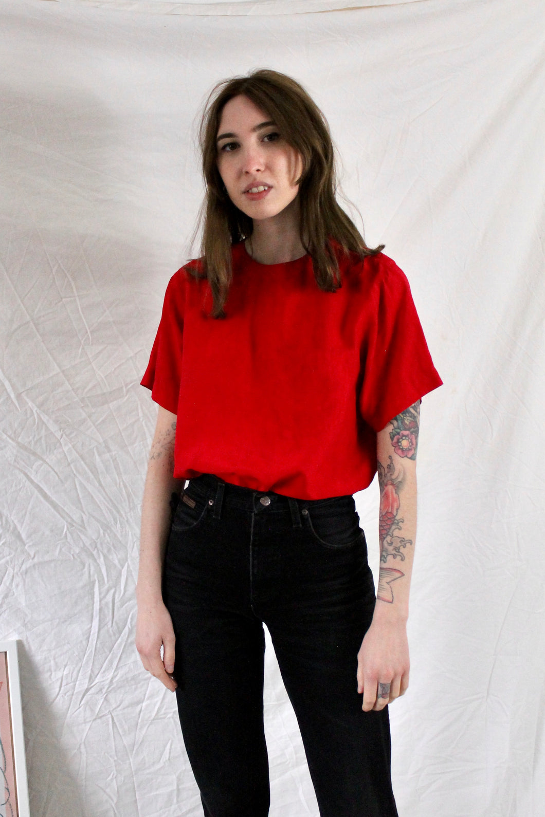 Vintage Silk 90s T Shirt Blouse