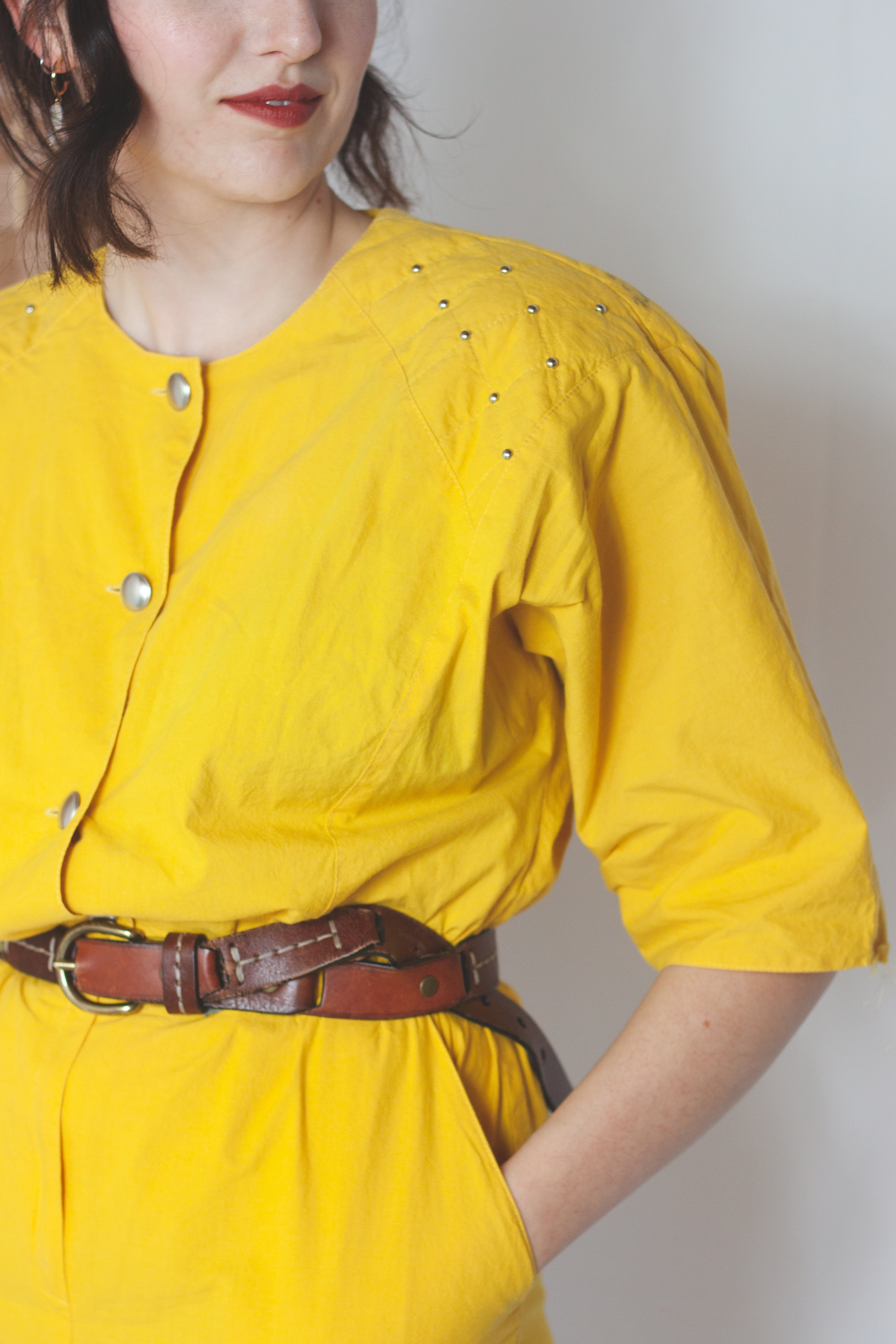 Buttercup yellow jumpsuit (S-M)