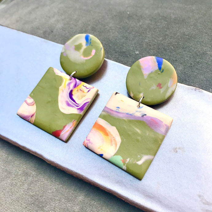 Sara and Loom MARBLED SQUARE | Polymer Clay Earrings