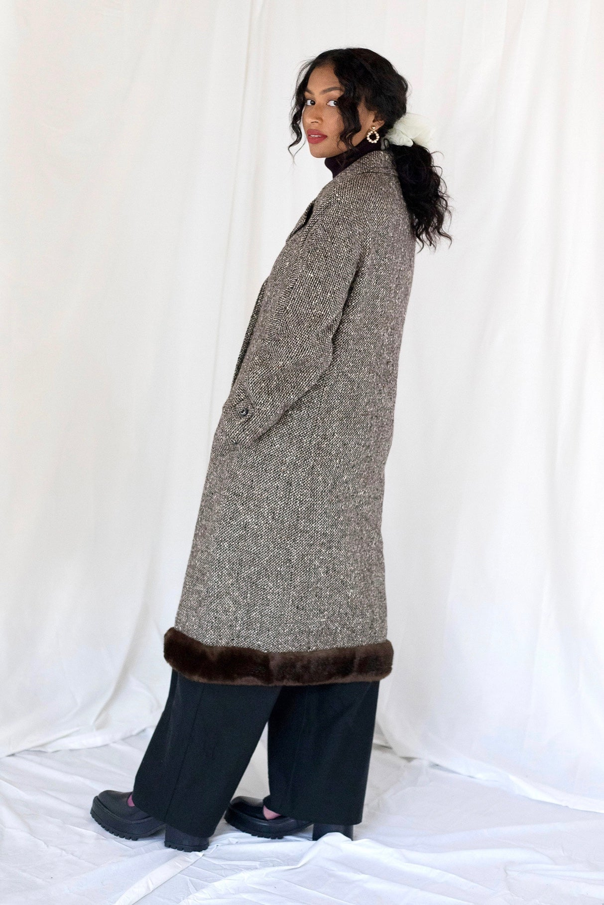 Faux Fur Trim Tweed Coat (M)