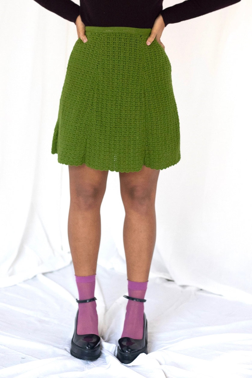 Olive Crochet Mini Skirt (XS-S)