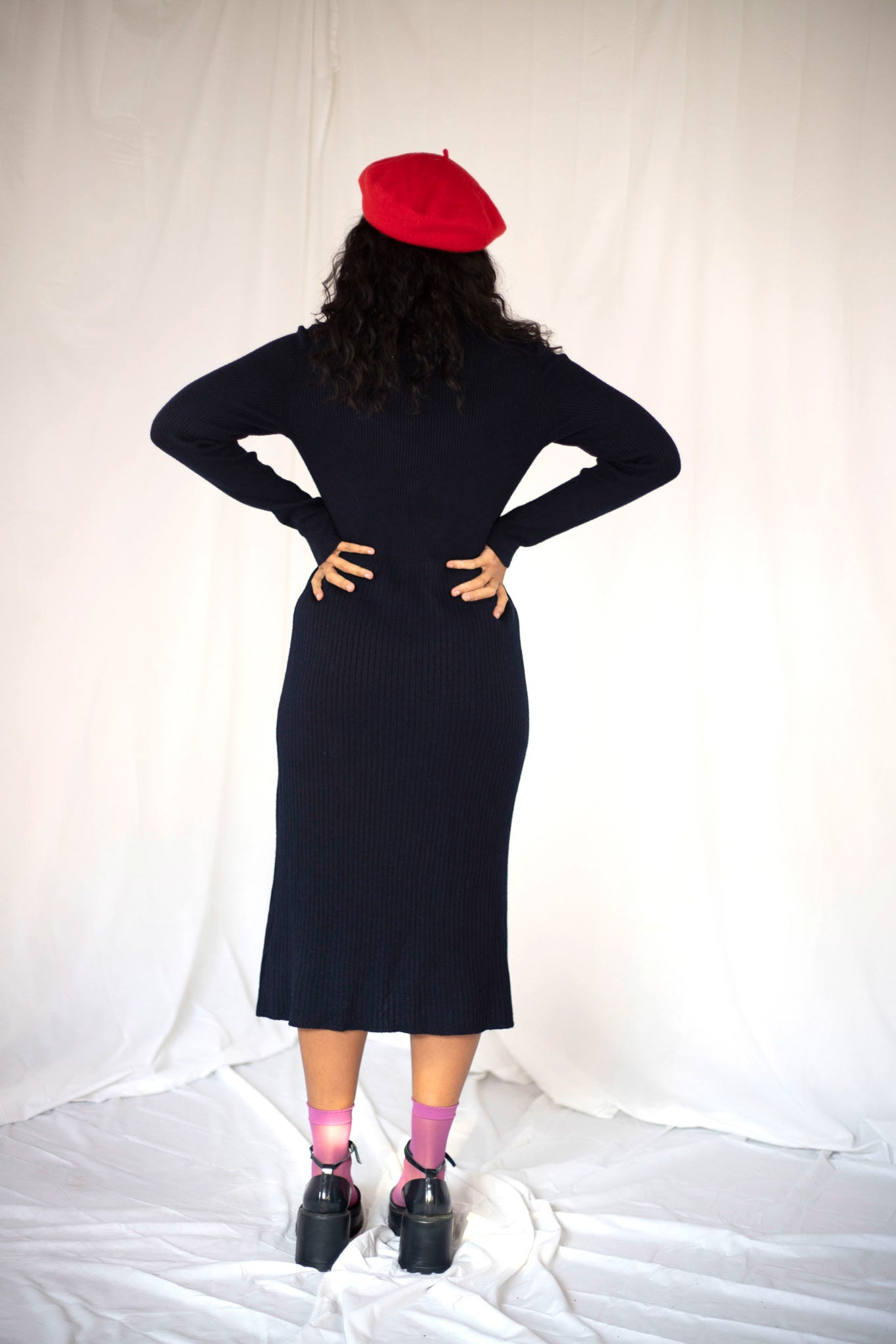 Navy A Line Rib Knit Dress (S-M)