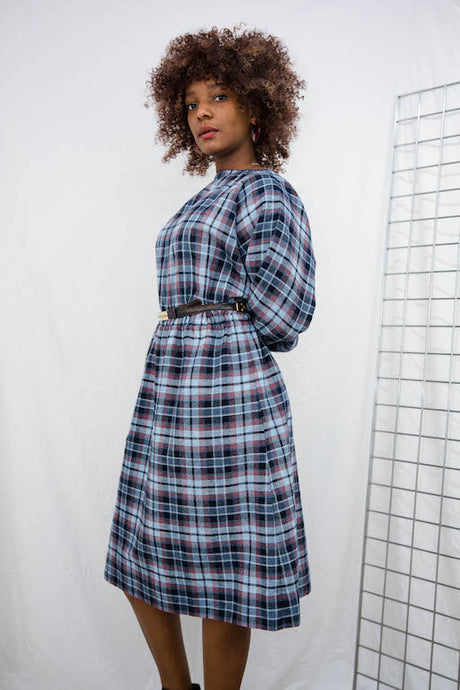 Vintage Plaid Midi Dress in Blue