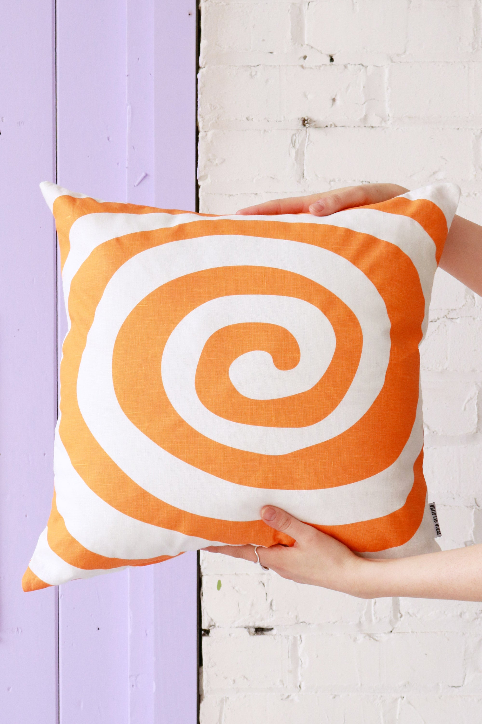 Sugar Rush Linen Cushion - Tangerine