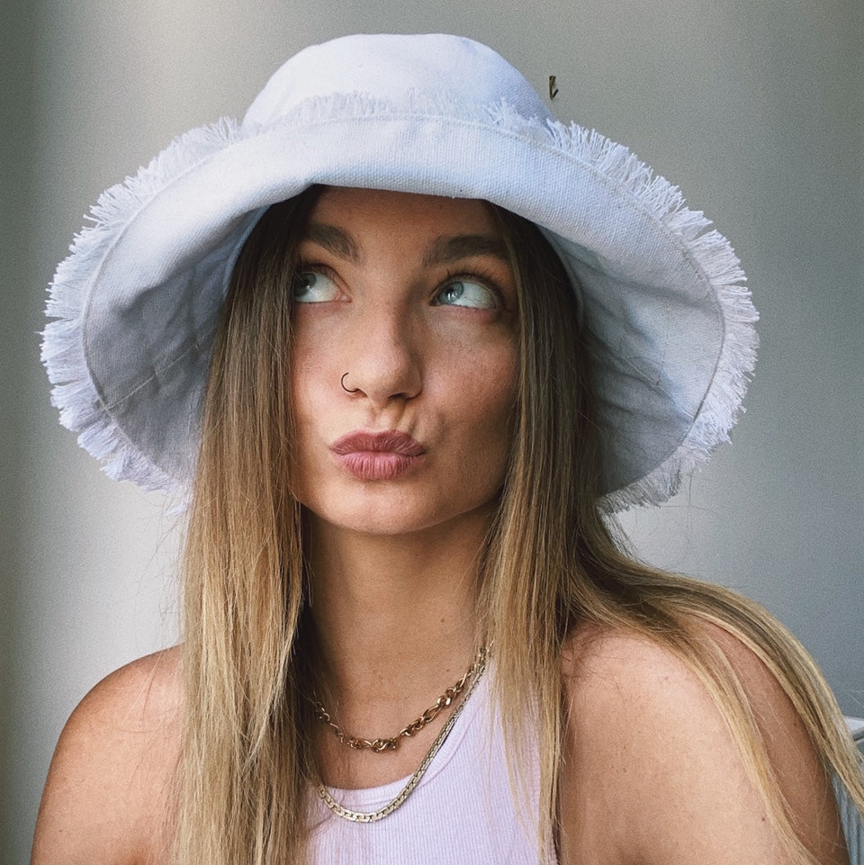 White Frayed Bucket Hat