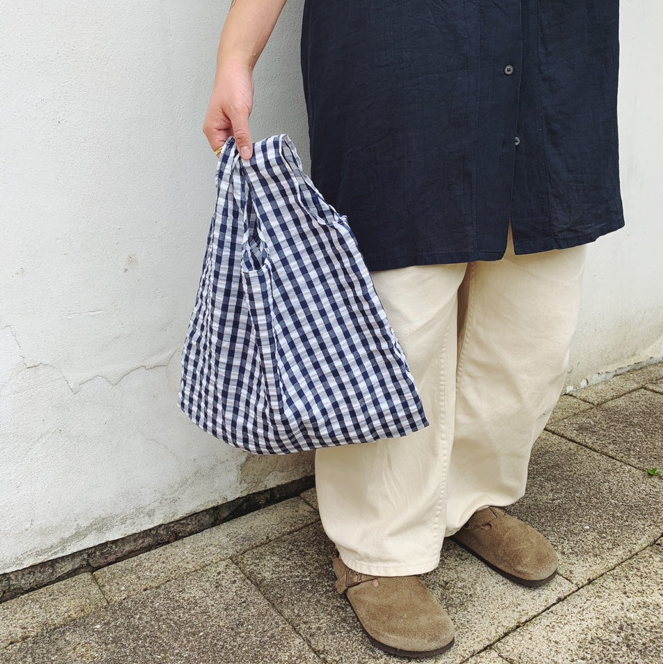 Gingham Shopper in Navy