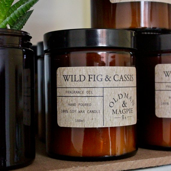 Old Man & Magpie 100% Natural Soy Wax Candle in Wild Fig and Cassis