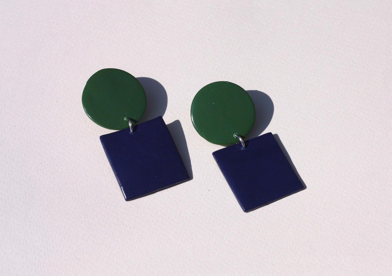 Sara and Loom JUGUETE | Polymer Clay Geometric Statement Colour Earrings