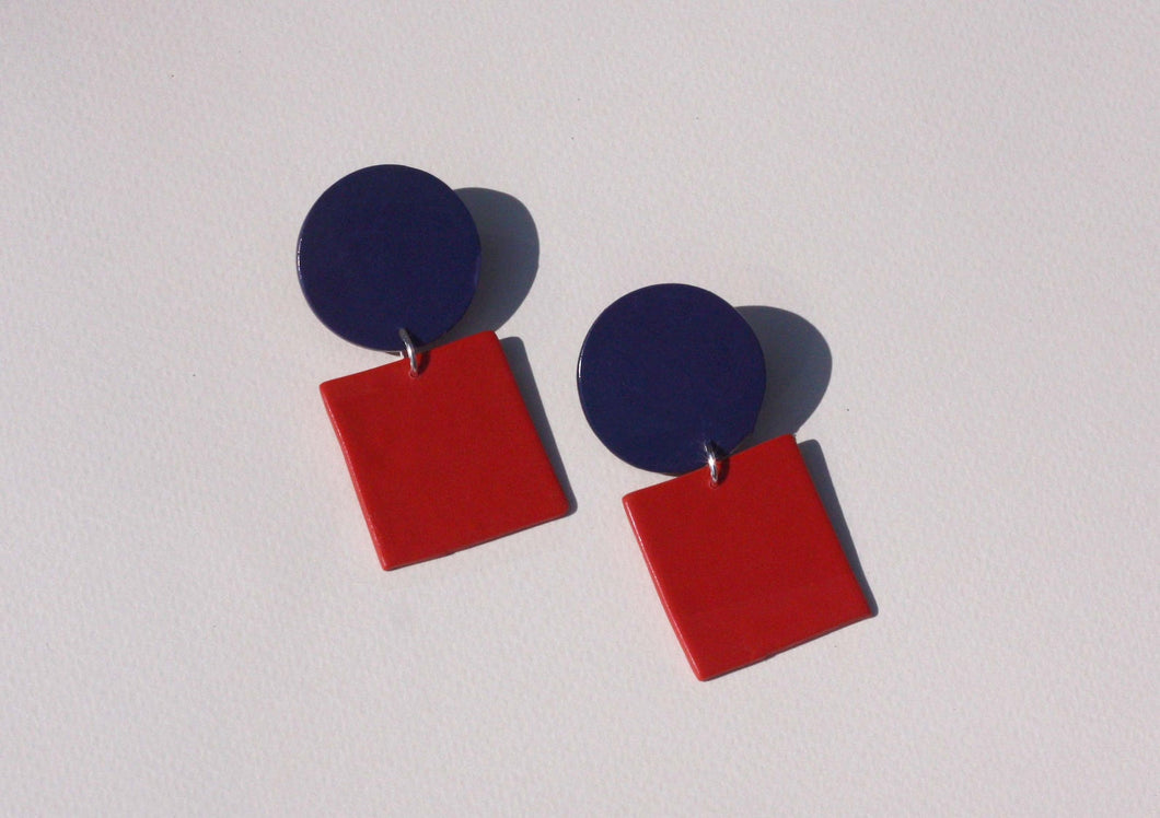 Sara and Loom LELU | Polymer Clay Geometric Statement Colour Earrings