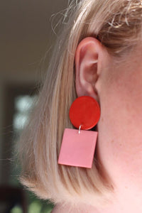 Sara and Loom LEKA | Polymer Clay Geometric Statement Colour Earrings