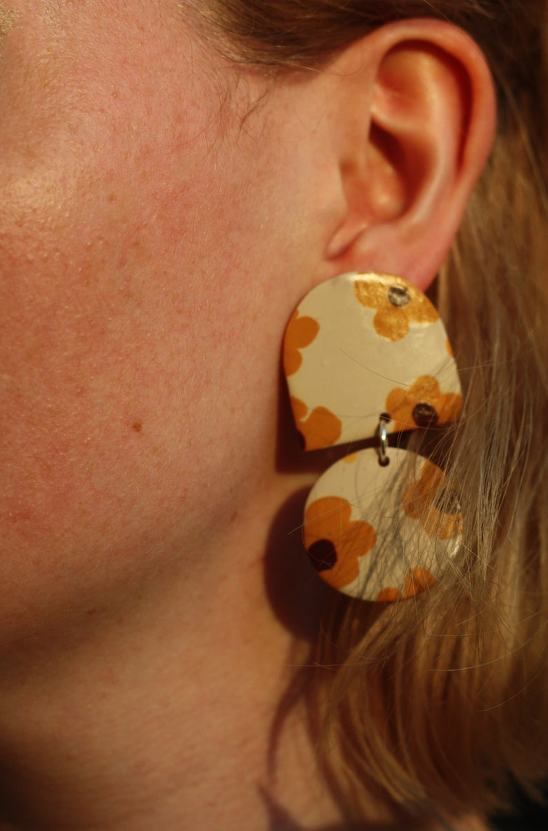Sara and Loom BLOMST | Polymer Clay Geometric Statement Colour Earrings