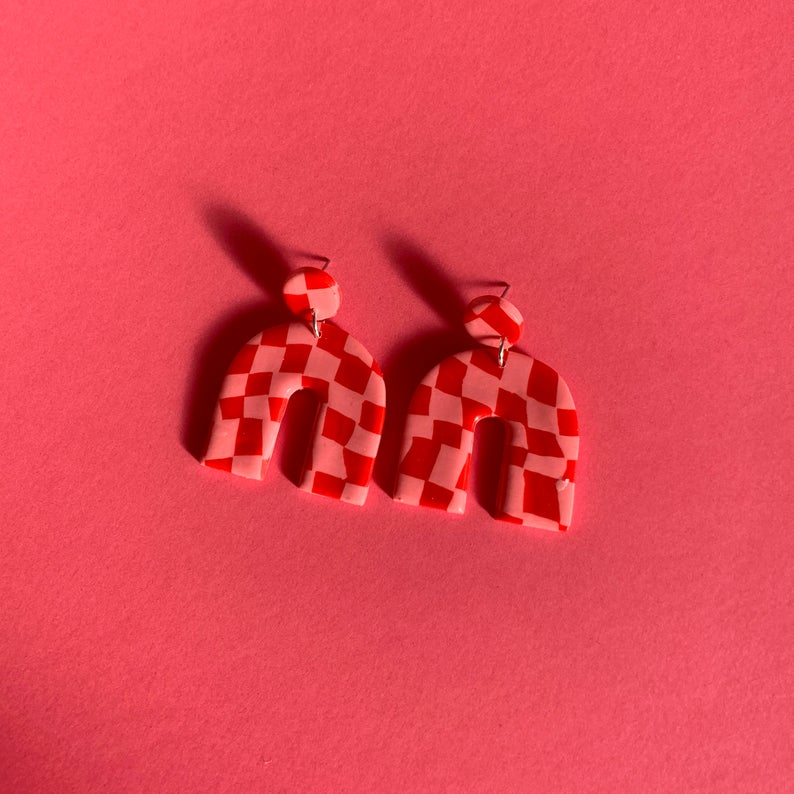 Red and Pink Checkerboard Earrings | Large