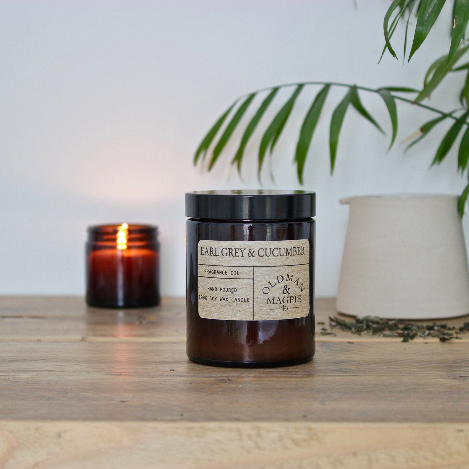 Old Man & Magpie 100% Natural Soy Wax Candle in Earl Grey & Cucumber