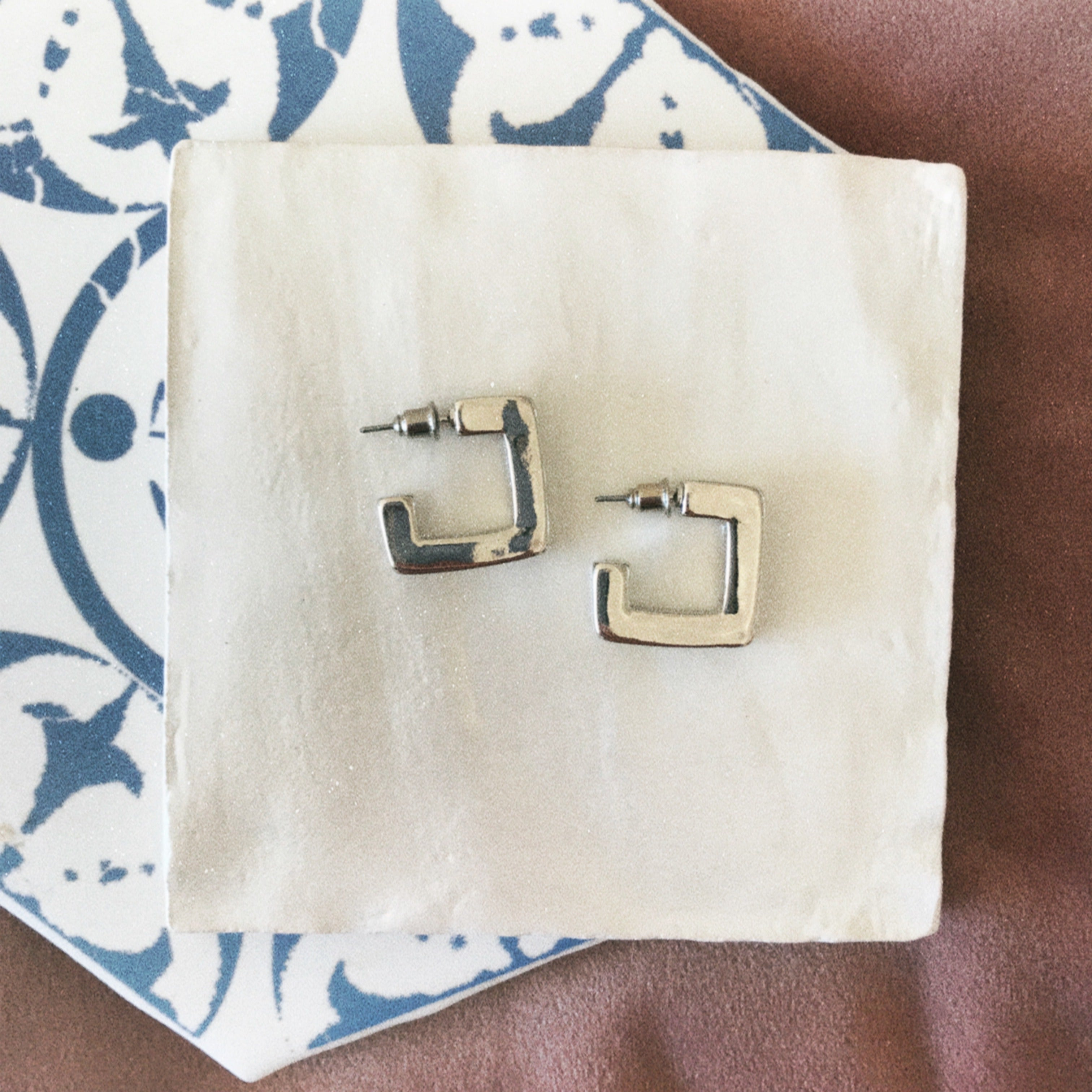 Nordic Muse Thick Square Hoop Earring, Silver