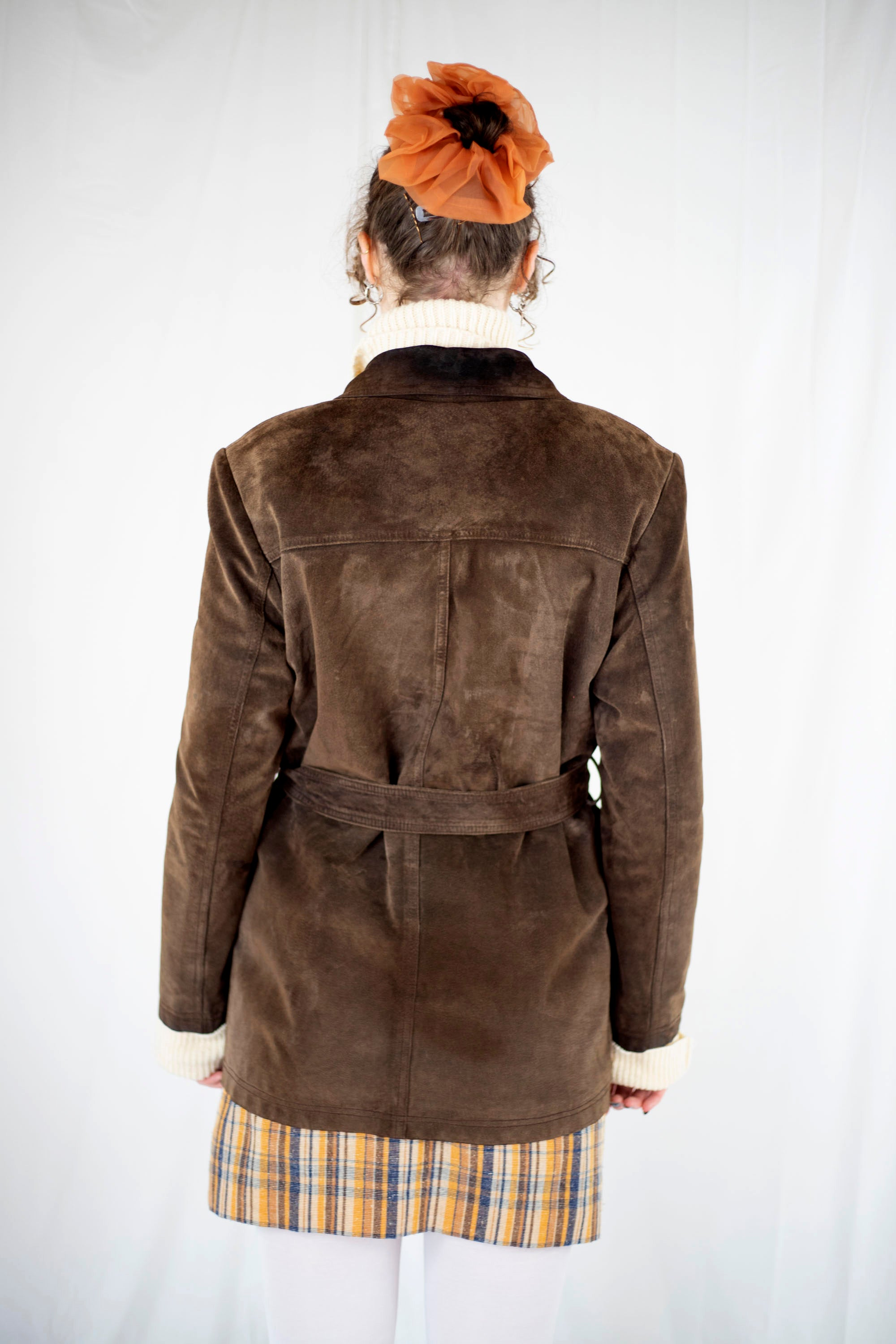 Chocolate Suede Jacket w Belt (S)