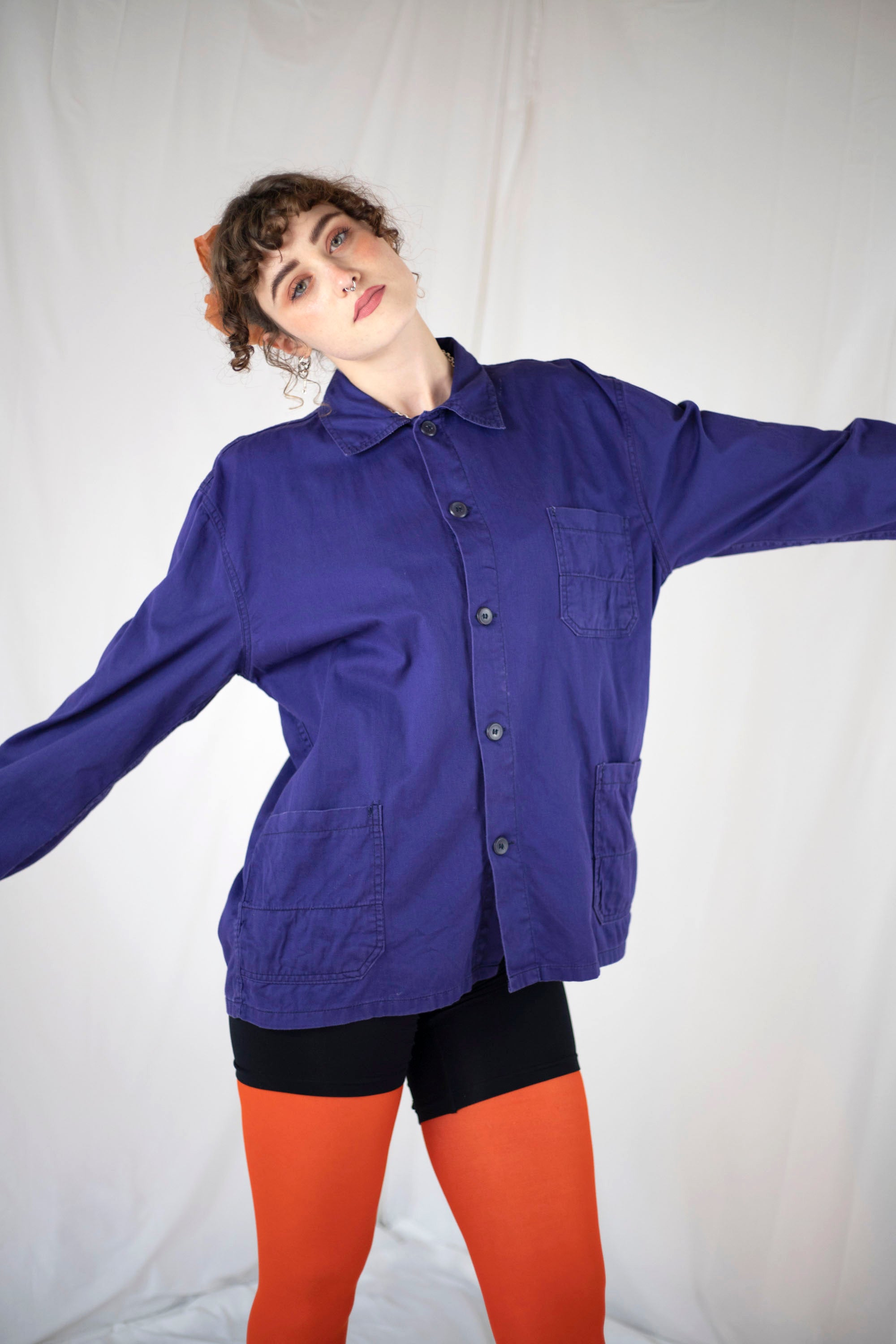 Royal Blue Washed Worker Jacket (L)