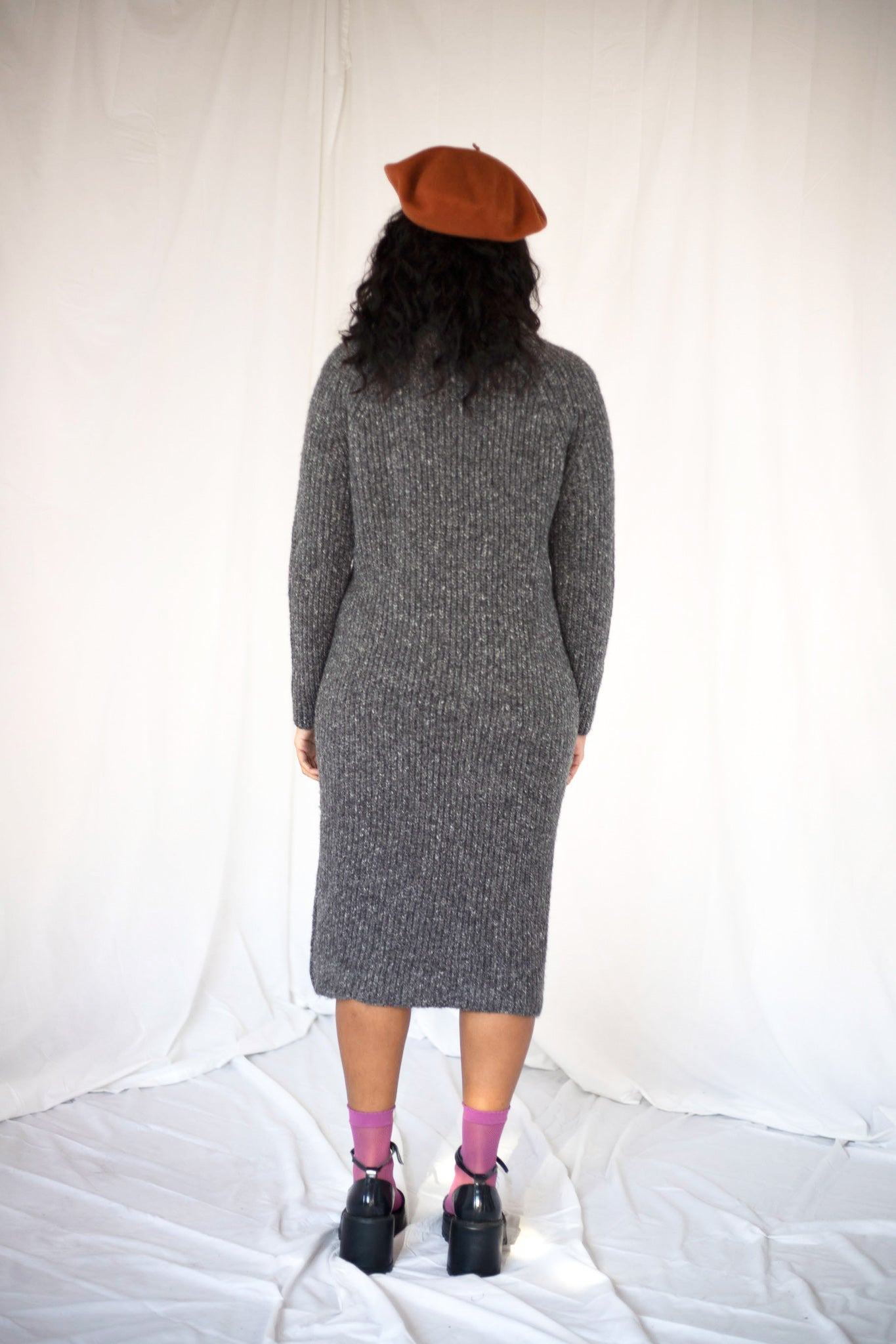 Grey Chunky Knit Jumper Dress (M)