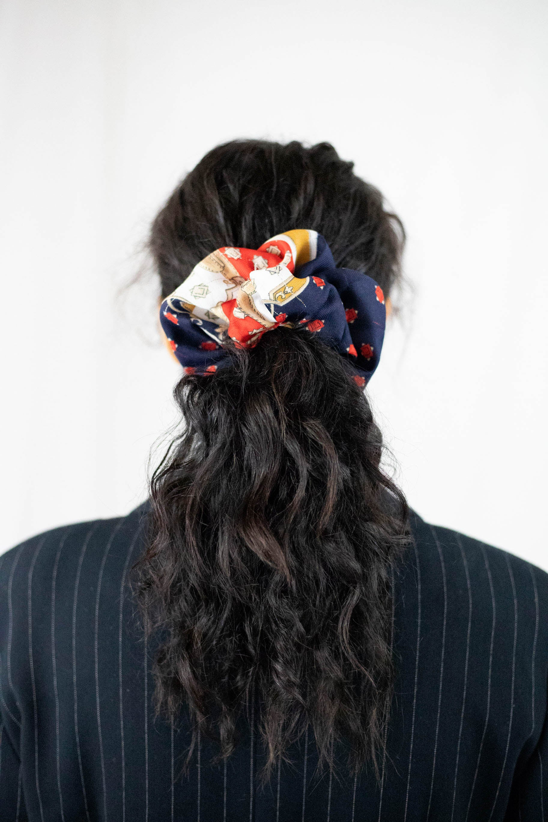 Oversize Silky Scarf Scrunchie | Red Paisley