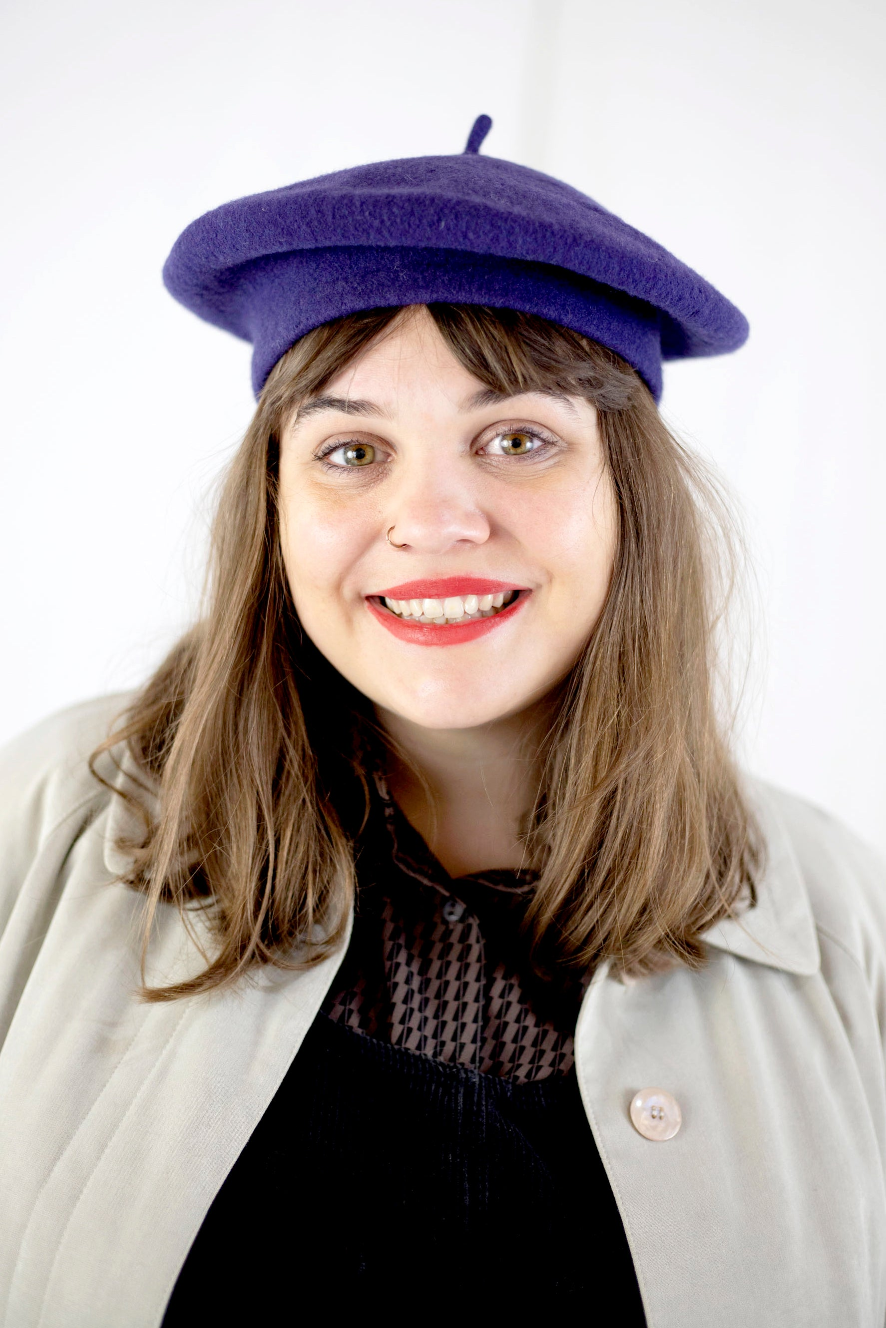 Wool Beret in Grape