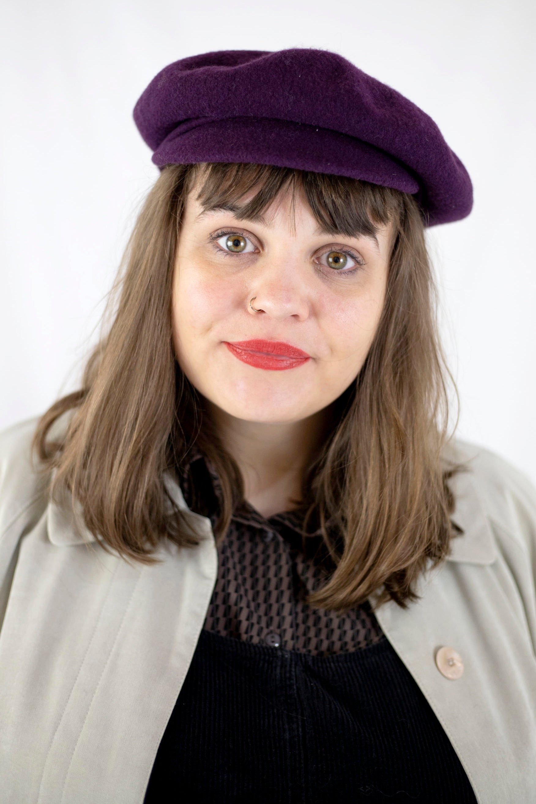 Wool Beret in Plum