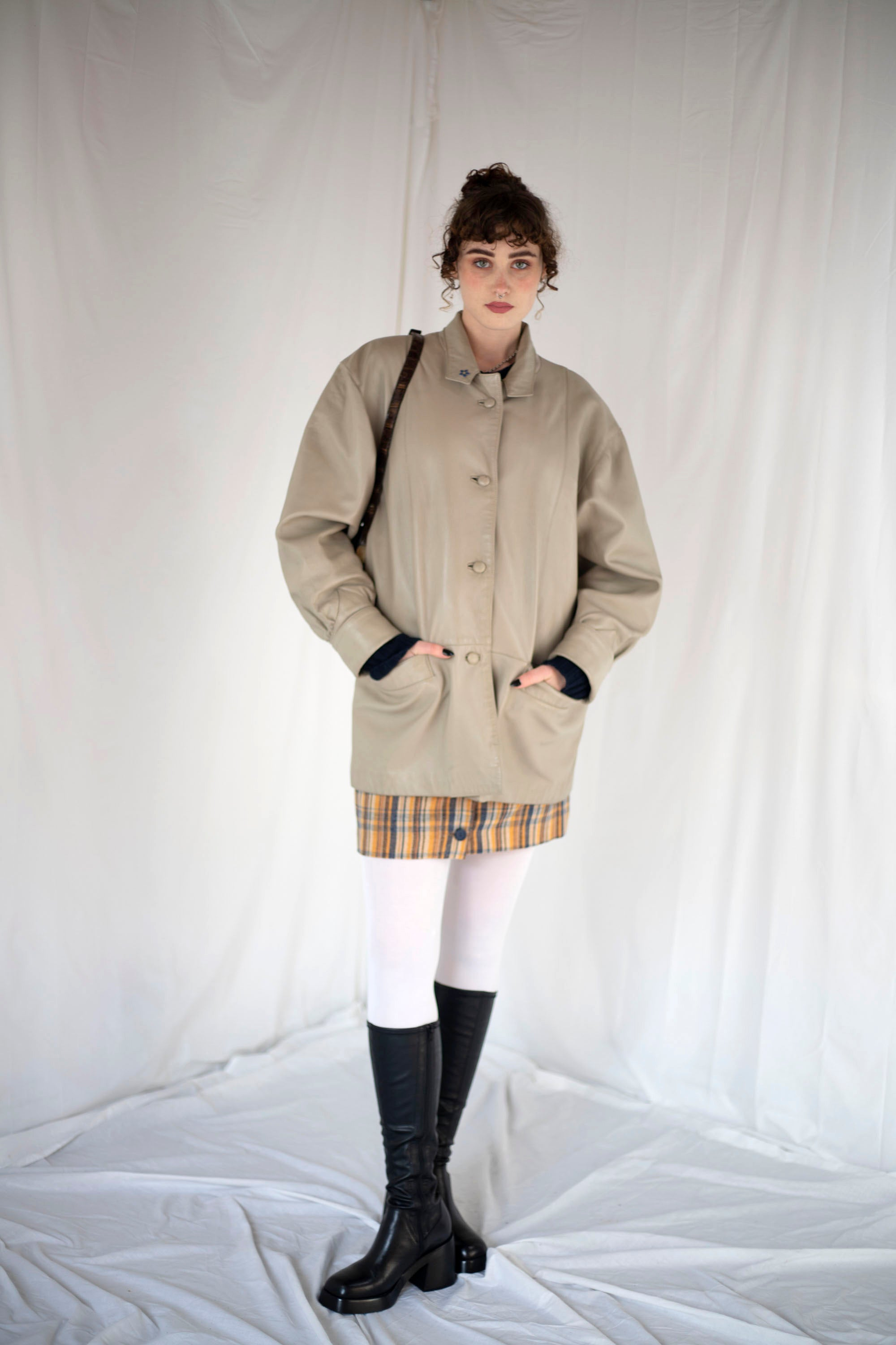 Oversize Leather Coat in Grey (L-XL)