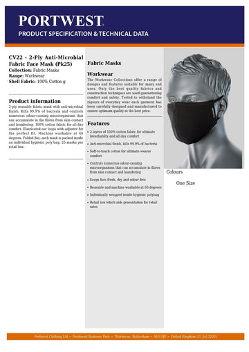 CV22 - 25 Units - DOUBLE LAYER ANTI MICROBIAL FABRIC FACE MASK