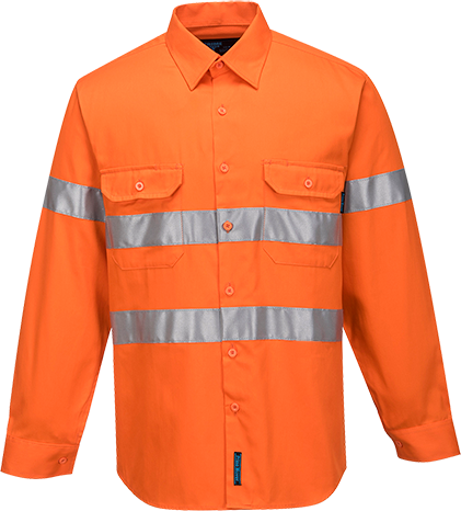 Orange | Cotton Shirt Open  L/S  D&N | The Safety Warehouse - Online Mega Store.