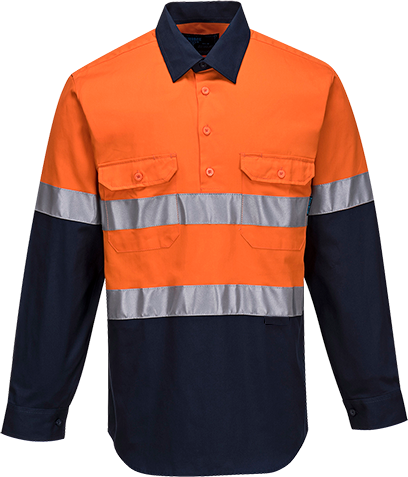 Orange/Navy | Cotton Shirt Closed  L/S  D&N | The Safety Warehouse - Online Mega Store.