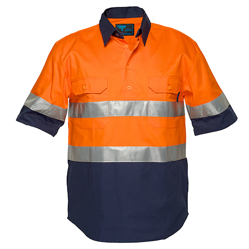 Orange/Navy | Cotton Shirt Closed  S/S  D&N | The Safety Warehouse - Online Mega Store.