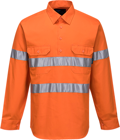 Orange | Cotton Shirt Closed  L/S  D&N | The Safety Warehouse - Online Mega Store.