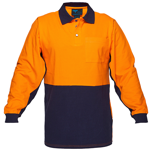 Orange/Navy | Cotton Polo Shirt Class D  L/S | The Safety Warehouse - Online Mega Store.