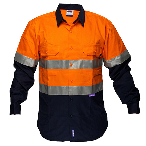 Orange/Navy | FR Cotton Drill Shirt  D&N | The Safety Warehouse - Online Mega Store.