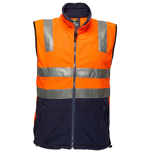 Orange/Navy | Hi-Vis Fleece Vest  D&N | The Safety Warehouse - Online Mega Store.