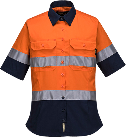 Orange/Navy | Hi-Vis Ladies Shirt  S/S  D/N | The Safety Warehouse - Online Mega Store.
