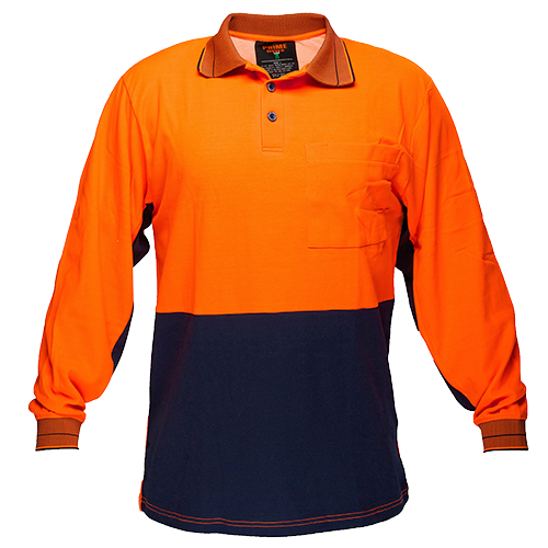 Orange/Navy | Cotton Backed Polo Class D L/S | The Safety Warehouse - Online Mega Store.