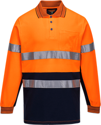 Orange/Navy | Cotton Comfort Polo D&N  L/S | The Safety Warehouse - Online Mega Store.