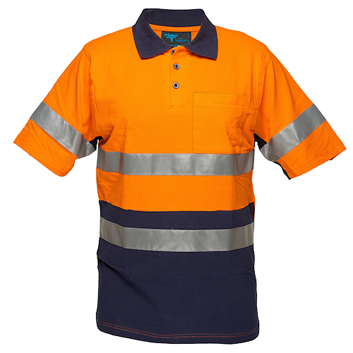 Orange/Navy | Cotton Polo Shirt D&N  S/S | The Safety Warehouse - Online Mega Store.