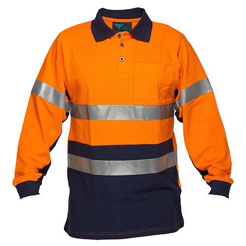 Orange/Navy | Cotton Polo Shirt D&N  L/S | The Safety Warehouse - Online Mega Store.