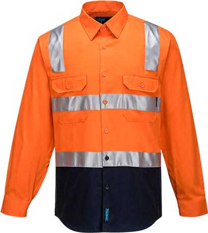 Orange/Navy | Cotton Shirt Open  L/S  D&N | The Safety Warehouse - Online Mega Store.