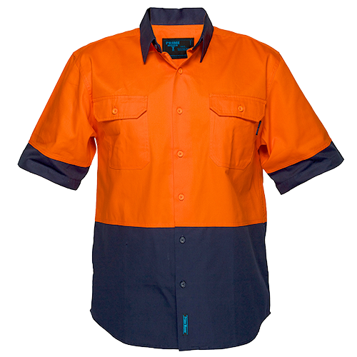 Orange/Navy | Cotton Shirt Open S/S  Class D | The Safety Warehouse - Online Mega Store.
