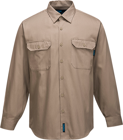 Khaki | Business Shirt  L/S | The Safety Warehouse - Online Mega Store.
