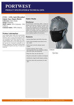 CV33 - TRIPLE LAYER ANTI MICROBIAL FABRIC FACE MASK (1 UNIT)