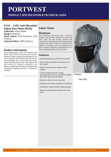 CV33 - TRIPLE LAYER ANTI MICROBIAL FABRIC FACE MASK