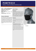 CV33 - FAMILY PACK - ANTI MICROBIAL FABRIC FACE MASKS (4 UNITS)