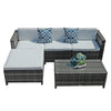 5 Piece Patio Furniture Set All-Weather Sectional Sofa Conversation Furniture Set