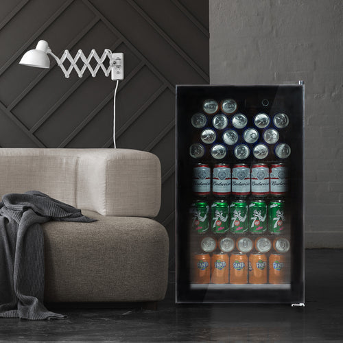 Beverage refrigerator or Wine Cooler with Glass Door for Beer, soda or Wine Mini Fridge freestanding for Home, Office or Bar - Drink Freezer for Party