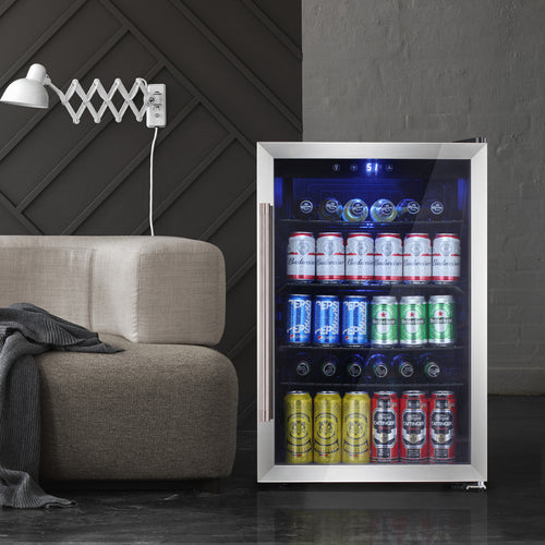 Beverage refrigerator or Wine Cooler with Glass Door for Beer, soda or Wine - 120 Can or 36 Bottles Mini Fridge freestanding for Home, Office or Bar - Drink Freezer for Party