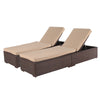 Set of 2 Outdoor Adjustable Patio Chaise Lounge with Cushion