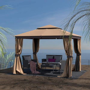 Cloud Mountain Luxuriously 10 x 12 Garden Gazebo Soft Top Outdoor Patio Gazebo Tent with Mosquito Netting, LED Lights, and Bluetooth Speakers